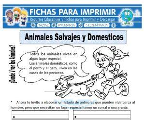 Ficha de Animales Salvajes y Domesticos Primaria