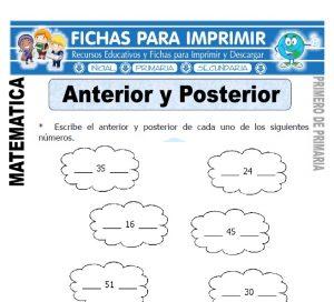 anterior y posterior para primero de primaria