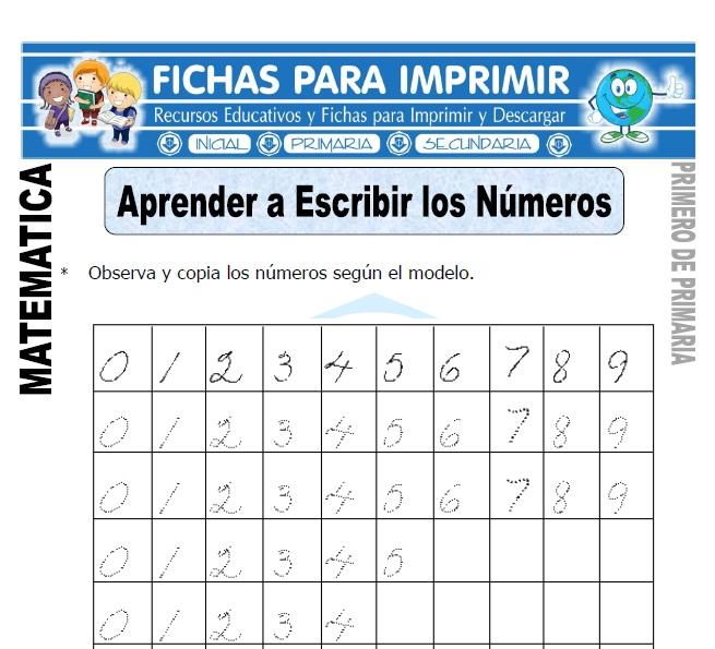 aprendiendo a escribir numeros para primero de primaria