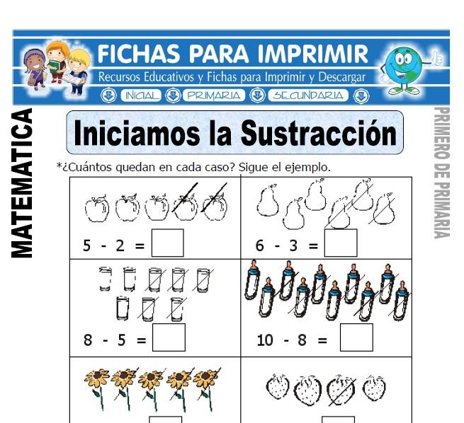 aprendiendo la sustraccion para primero de primaria
