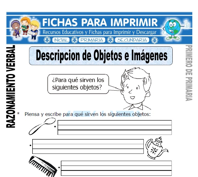 descripcion de-objetos e imagenes para primero de primaria