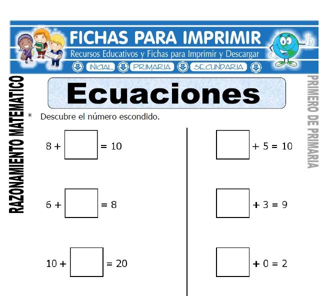 ecuaciones para primero de primaria