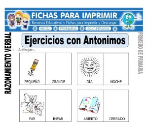 Ejercicios con Antónimos para Primero de Primaria