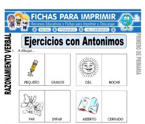 ejercicios con antonimos para primero de primaria