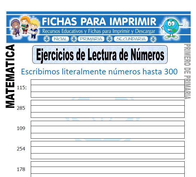 ejercicios de lectura de numeros para primero de primaria