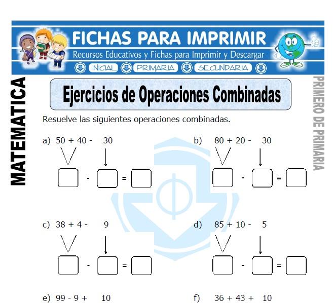 ejercicios de operaciones combinadas para primero de primaria