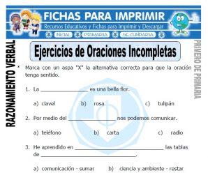 Ejercicios de Oraciones Incompletas para Primaria