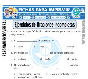 ejercicios de oraciones incompletas para primero de primaria