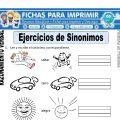 Ejercicios de Sinónimos para Primero de Primaria