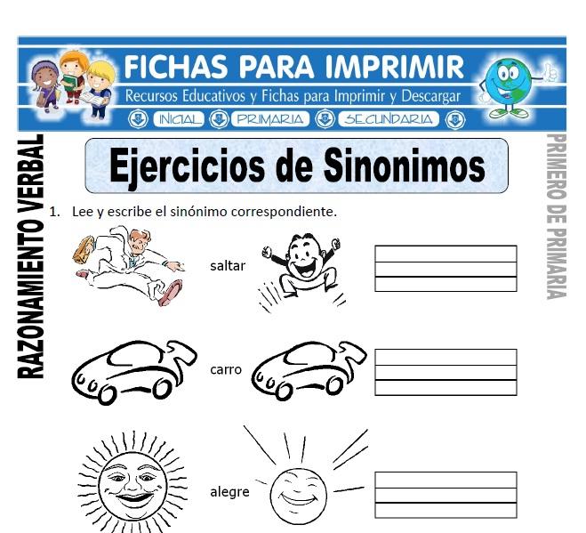 ejercicios de sinonimos para primero de primaria