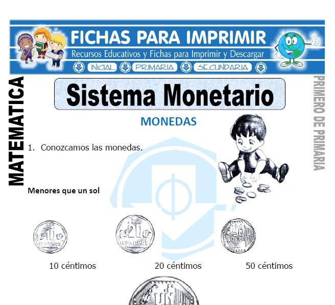 el sistema monetario para primero de primaria