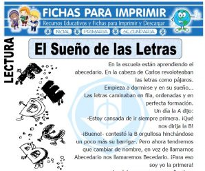 Ficha de El Sueño de las Letras para Primaria