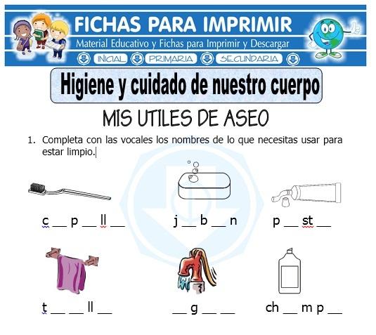 Ficha de Higiene y Cuidado de Nuestro Cuerpo para Primero de Primaria