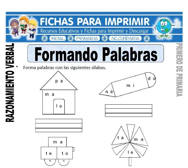formando palabras para primero de primaria