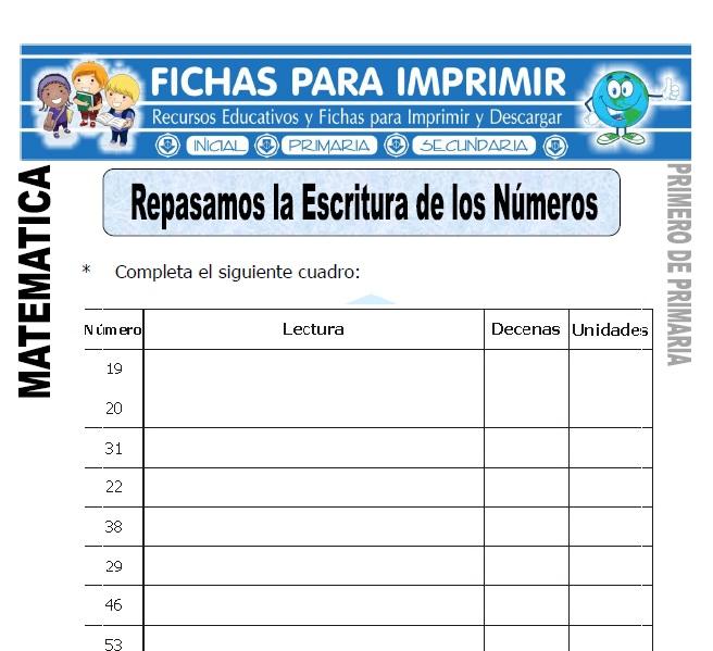 escritura de los numeros para primero de primaria