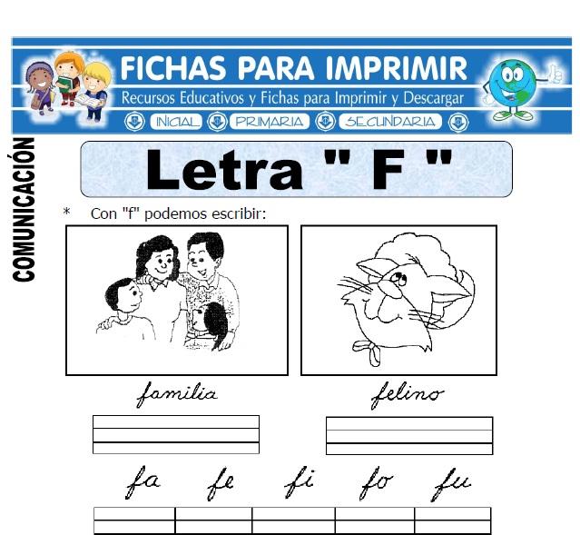 la letra f para primero primaria