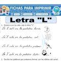 Ficha de La Letra L para Primero de Primaria