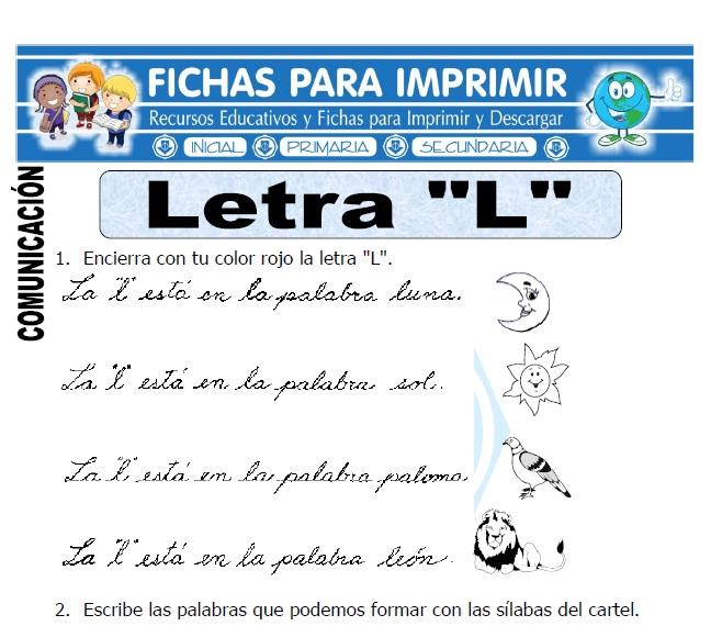 la letra l para primero primaria