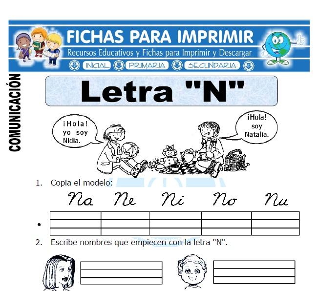 la letra n para primero primaria