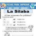 Ficha de La Silaba para Primero de Primaria
