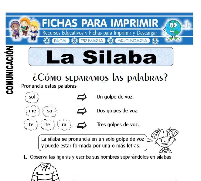 la silaba para primero de primaria