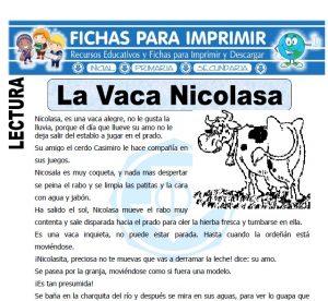 la vaca nicolasa para primaria