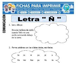 Ficha de la Letra Ñ para Primero de Primaria