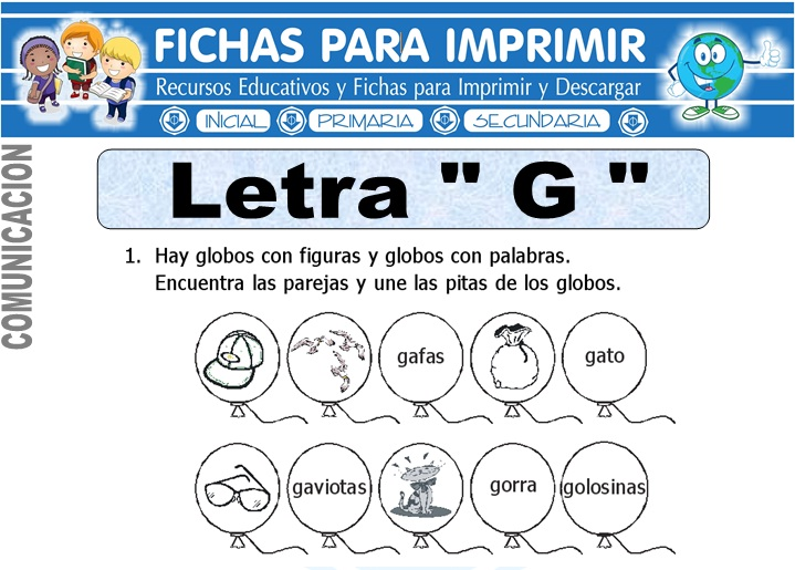 Ficha de La Letra G para Primero de Primaria - Fichas para Imprimir