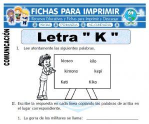 Ficha de La Letra K para Primero de Primaria
