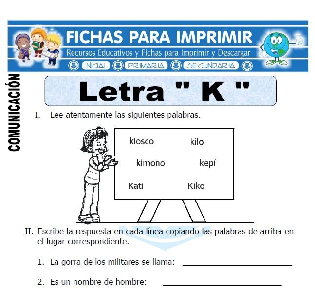 letra K para primero de primaria