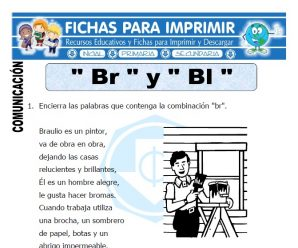 Ficha de La Letra Br y Bl para Primero de Primaria