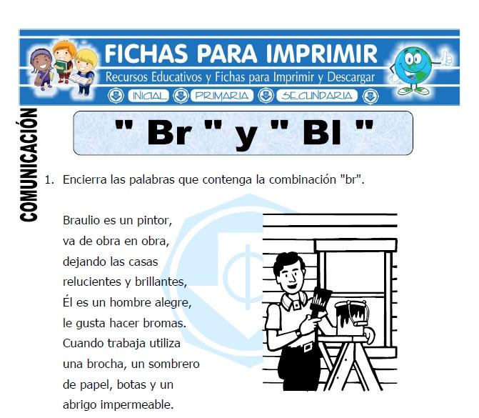 letra br y bl para primero de primaria