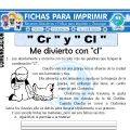 Ficha de Letra Cr y Cl para Primero de Primaria
