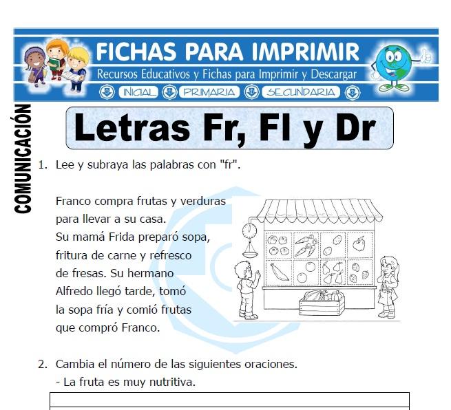 letra fr fl br para primero de primaria