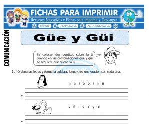 Ficha de La Letra Güe y Güi para Primero Primaria