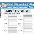 Ficha de La Letra J y Ge – Gi para Primaria
