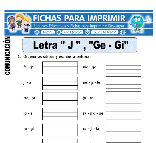 letra j y ge gi para primero de primaria