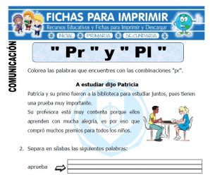 Ficha de La Letra Pr y Pl para Primero de Primaria