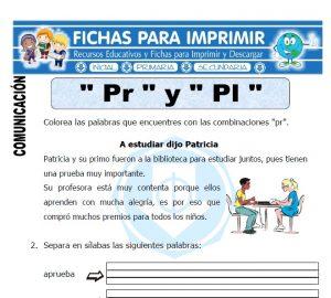 letra pr y pl para primero de primaria