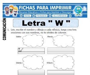 Ficha de La Letra W para Primero de Primaria