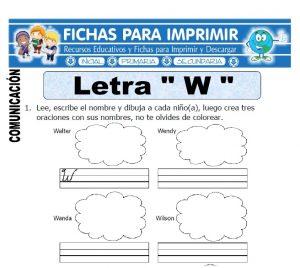 letra w para primero de primaria