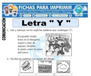 Ficha de La Letra Y para Primero de Primaria