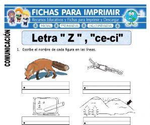 Ficha de La Letra Z y Ce – Ci para Primaria