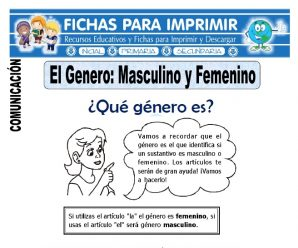 Ficha de Masculino y Femenino para Primero de Primaria