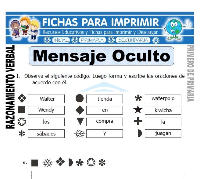 Mensajes Ocultos para Primero de Primaria - Fichas para Imprimir