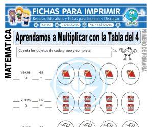 Multiplicando con la Tabla del cuatro Primero Primaria