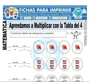 multiplicando con la tabla del cuatro para primero de primaria