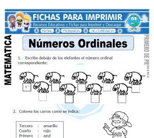 numeros ordinales para primero de primaria