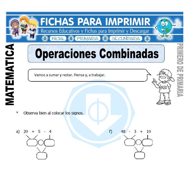 operaciones combinadas para primero de primaria
