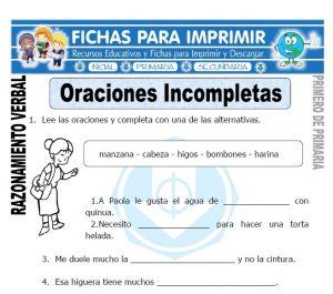 oraciones incompletas para primero de primaria